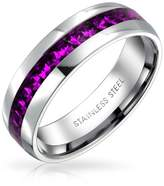 Bling Jewelry Simulated Amethyst Crystal Eternity Ring Steel