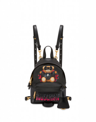 Moschino Bat Teddy Bear Mini Backpack Woman Black Size U It - (one Size Us)