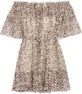 Zimmermann Prima Off-the-shoulder Printed Silk-crepon Mini Dress - Anthracite