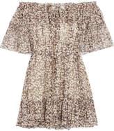 Zimmermann Prima Off-the-shoulder Printed Silk-crepon Mini Dress