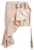 Marques Almeida MARQUES'ALMEIDA Floral-brocade asymmetric mini skirt