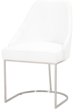 Orren Ellis Billy-Joe Leather Upholstered Side Chair in Pure White (Set of 2