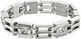 Stacy Adams Stainless Cut Out Link Bracelet with Cubic Zirconia