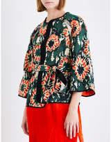 Raquel Allegra Ladies Black Cropped Woven Kimono Jacket