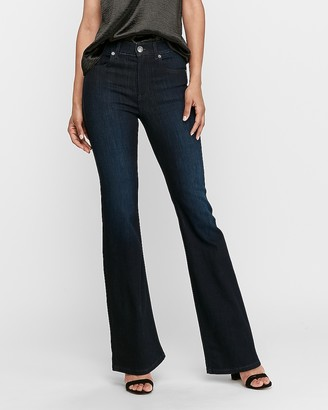 Express High Waisted Dark Wash Slim Flare Jeans