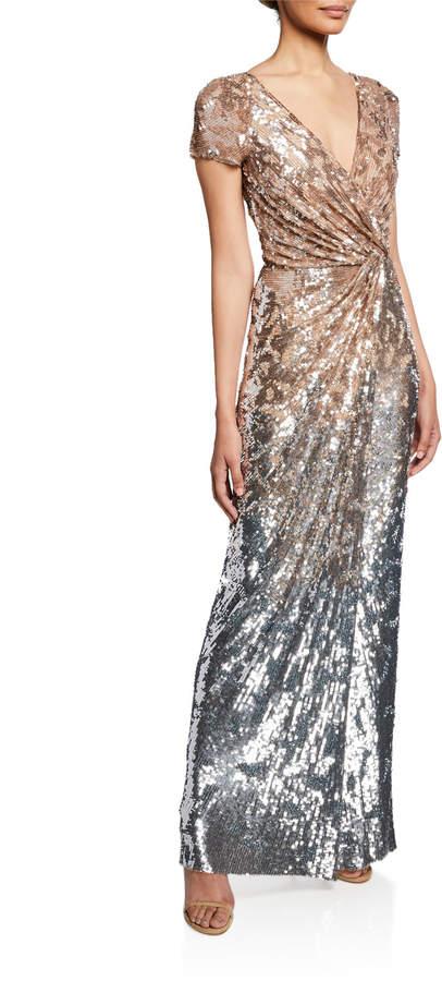 Jenny Packham Short-Sleeve Sequined Deep V Gown
