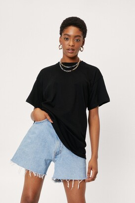 Nasty Gal Womens Face the Facts Relaxed Tee - Black