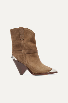 Isabel Marant Lamsy Embellished Suede Ankle Boots - Taupe