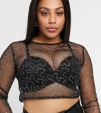 Rokoko Plus long sleeve mesh crop top in black sequin fabric co