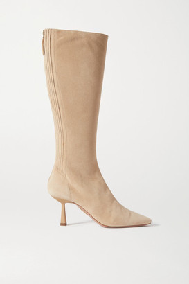 Aquazzura Curzon 75 Suede Knee Boots - Beige