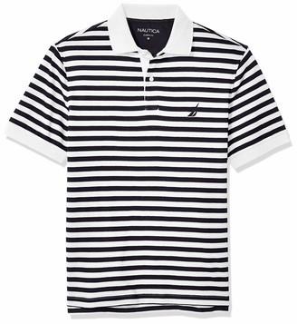 Nautica Men's Classic Fit 100% Cotton Soft Short Sleeve Stripe Polo Shirt