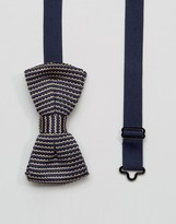 7X Knitted Stripe Bow Tie in Box