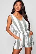 boohoo Horn Button Down Pocket Wide Stripe Playsuit