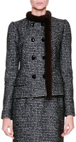 Dolce & Gabbana Fur-Trim Snap-Front Jacket, Black/Gray/Multi
