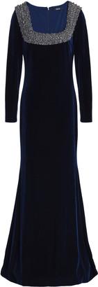 Badgley Mischka Fluted Embellished Velvet Gown