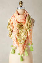 Anthropologie Embroidered Paisley Square Scarf