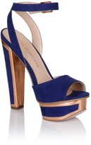 Little Mistress Blue and Gold Trim Heel Shoes