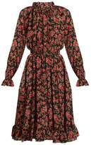 Dolce & Gabbana High-neck floral-print silk dress