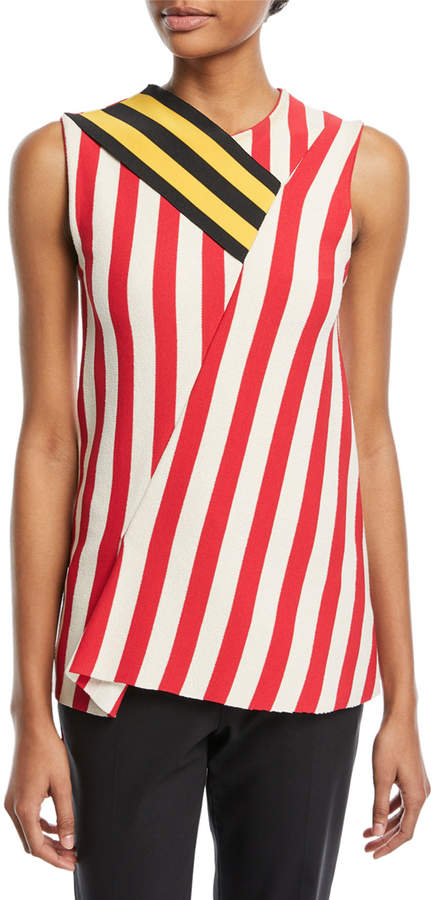 Calvin Klein Sleeveless Mixed-Striped Top