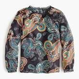 J.Crew Silk twill top in bold paisley