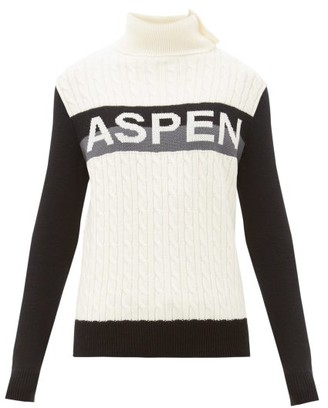Perfect Moment Aspen-jacquard Cable-knit Wool Sweater - Womens - Grey