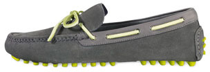 Cole Haan Air Grant Suede Tie Driver, Gray/Yellow