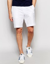 Asos Slim Tailored Shorts In White Washed Cotton