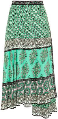 Alice + Olivia Boho Romance Wrap-effect Printed Crepe De Chine Midi Skirt