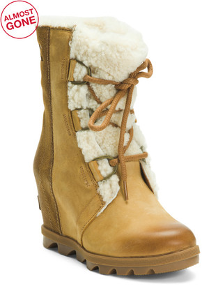 Shearling Lined Waterproof Leather Wedge Booties
