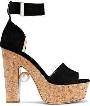 Nicholas Kirkwood Faux Pearl-embellished Suede And Cork Platform Sandals