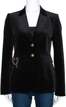 Gucci Black Velvet Horsebit Detail Tailored Blazer M
