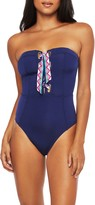 Trina Turk Paradise Bandeau Lace-Up One-Piece Swimsuit