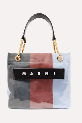 Marni Grip Small Leather-trimmed Striped Canvas And Pvc Tote - Burgundy