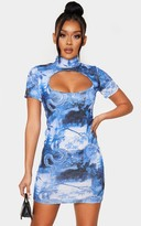 Realcat Blue Oriental Print High Neck Bodice Cut Out Short Sleeve Bodycon Dress