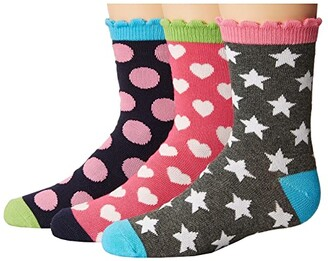 Jefferies Socks Dots/Hearts/Stars Crew Socks 3-Pair Pack (Toddler/Little Kid/Big Kid) (Multi) Girls Shoes