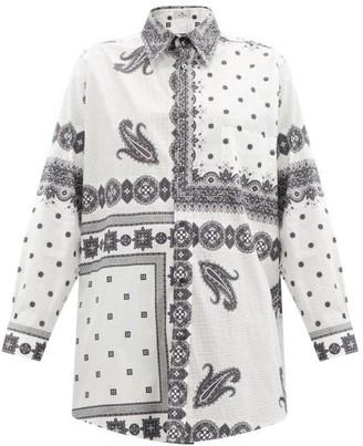 Etro Oversized Paisley-print Cotton-blend Poplin Shirt - White Black