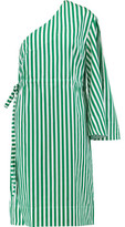 SOLACE London Aylin One-Shoulder Striped Cotton Dress