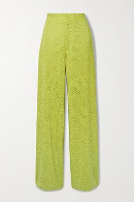 Christopher John Rogers Crystal-embellished Crepe Wide-leg Pants - Chartreuse