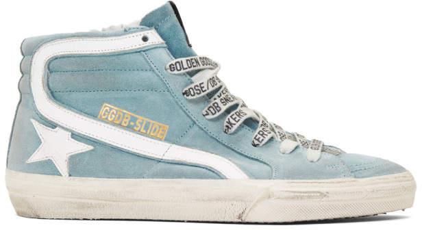 Golden Goose Blue Suede Slide Sneakers