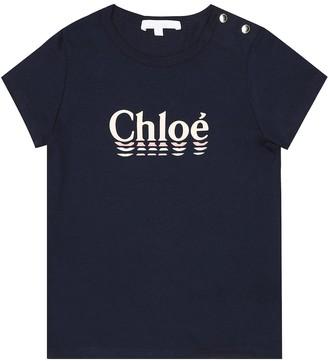 Chloé Kids Logo cotton-blend T-shirt