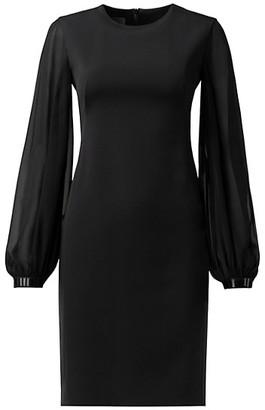 Akris Beaded-Trim Long Puff-Sleeve Georgette Dress