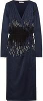 Attico - Marlene Embellished Satin Jacket - Storm blue