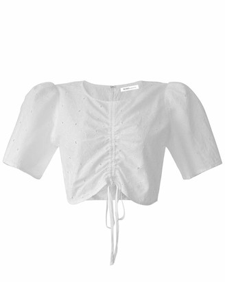 BCBGeneration Women's Short Sleeve Rouched Front Tie Top