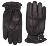 Saks Fifth Avenue Collection Buckled Leather Gloves