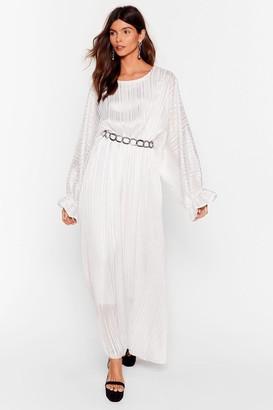 Nasty Gal Womens Love Me Stripe Balloon Sleeve Maxi Dress - White - L