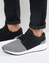 Pull&Bear Runner Sneakers With Contrast Trim In Black & White
