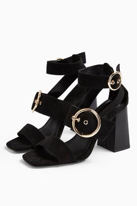 Topshop NEAH Black Double Buckle Sandals