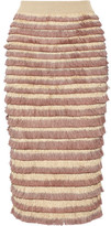 Burberry Fringed Knitted Cotton-blend Midi Skirt - Antique rose
