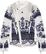 Sacai Embroidered Organza Jacket - White