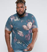 Asos PLUS Longline T-Shirt With All Over Floral Print In Linen Look